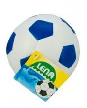 LENA Мяч футбольный мягкий (бело-синий), 10 см, (62176-2)