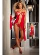 Чарующее красное платье из двух соединенных половинок ткани
