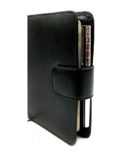 Обложка кожаная для ежедневника 12*18см Canpellinі 552 с блокнотом Гладкая черная