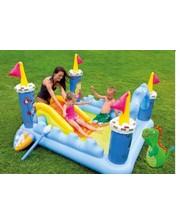 Intex 57138 замок с горкой, душем, надувными игрушками, подстилкой, сливным клапаном