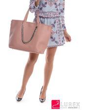 Светлая женская сумка с клатчем - цвета пудры, большая