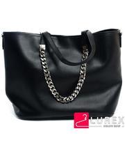 Большая черная женская сумка с клатчем из экокожи