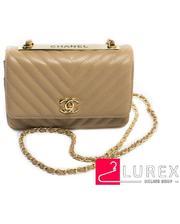 Бежевая сумка-клатч с ремнем цепочкой, маленькая