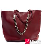 Женская сумка бордовая с клатчем - большая