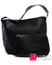 Женская сумка для шоппинга - черная, большая, с косметичкой