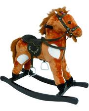 ROCK MY BABY Игрушечный конь - качалка с музыкой, цв.коричнево/белый (JR603)