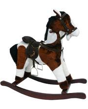 ROCK MY BABY Игрушечный конь - качалка с музыкой, цв.темно-коричневый/белый JR614 (JR614)
