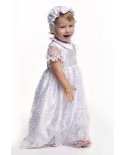 Модный карапуз Комплект крестильный для девочки с гипюром белый (03-00451-0)