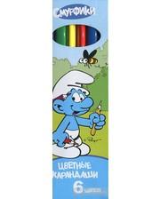Росмэн-Пресс Цветные карандаши Смурфики 6 цветов трехгранные (15719)