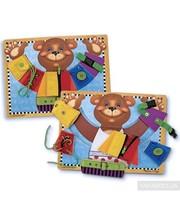 Melissa & Doug Деревянная доска-игрушка Медвежонок с застежками (MD3784)