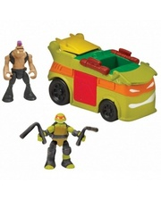 TMNT Черепашки-Ниндзя Micro Микеланджело и Бибоп в фургоне для вечеринок (87602)