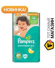 PAMPERS Active Baby-Dry Maxi Plus 4+ 9-16кг, 62шт. (4015400264774)