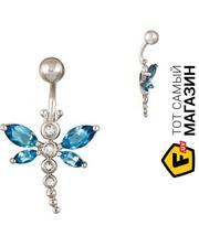 Lurie Jewelry Пирсинг из белого золота с топазами и сапфирами (004994)