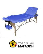 House Fit HY-30110B  Массажный стол 3-х секционный (дерев. рама) синий