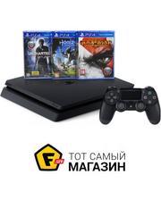 Sony PlayStation 4 Slim 500GB, Black + Horizon Zero Dawn + God of War III + Uncharted 4 Путь вора + 3 месяца PSPlus