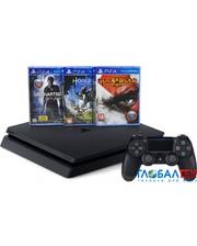 Sony PlayStation 4 Slim 500GB Black + Horizon Zero Dawn + Uncharted 4 + God of War и подписка PS Plus