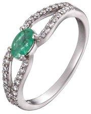 Серебряное кольцо с изумрудом и фианитами Барбарис
