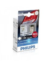 PHILIPS Automotive Лампа светодиодная Philips P21W RED 12/24V (12898RX2)