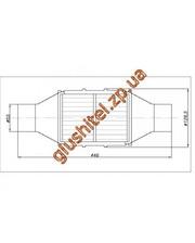 Lindo Catsystem Катализатор универсальный круглый 120.2134 В 3600 E3 (объем 2,8-3,6 л, диаметр входа 55мм, длинна 446мм, диаметр 128мм)