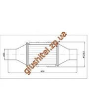 Lindo Catsystem Катализатор универсальный круглый 120.2128 В 2800 E3 (объем 2,0-2,8 л, диаметр входа 55мм, длинна 406мм, диаметр 128мм)