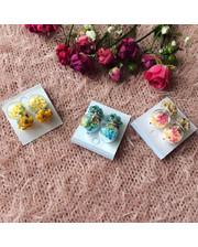 Серьги-пусетты в трех цветах