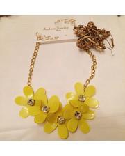 Колье желтое с цветами