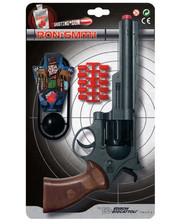 Edison Giocattoli Пистолет EDISON Ron Smith 28см 8-зарядный с мишенью и пульками (463/33)