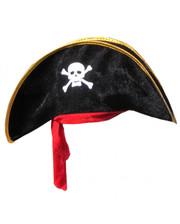 Шляпа Пирата с красной повязкой велюр