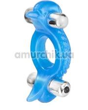Cal Exotic Виброкольцо Double Dolphin голубое