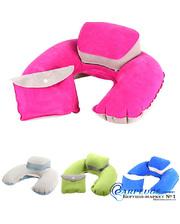 Дорожная подушка для путешествий с подголовником + чехол, розовый цвет