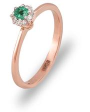 Золотое кольцо Абелия с изумрудом и бриллиантами