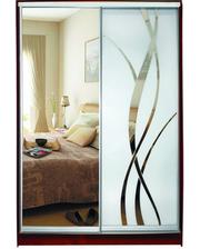Матролюкс Шкаф купе на 2 двери + фасады из ДСП, зеркал, матовых зеркал + рисунок пескоструй на 1 двери