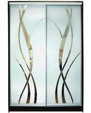 Матролюкс Шкаф купе на 2 двери + фасады из ДСП, зеркал, матовых зеркал + рисунок пескоструй на 2 двери