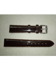 P80219-203936 Ремешок прес.кожа коричневый лаковый 18 мм