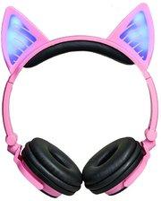 Bluetooth наушники LINX BL108A с кошачьими ушками LED Розовые