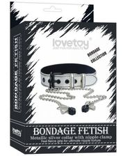 LoveToy Metallic Silver Collar With Nipple Clamp
