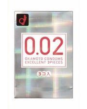 Okamoto Condoms Супер тонкие презервативы ОКАМОТО 0.02 мм, 3 шт