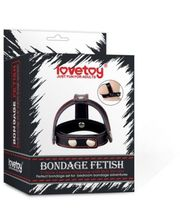 LoveToy Bondage Fetish T-Style Leather Cockring With Ball Divider