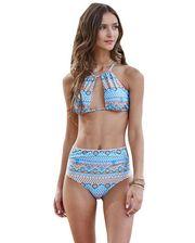 Завод - Halter Cut out Mix Printed High Waist Bottom Bikini
