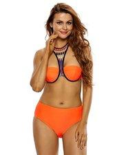Orange High Neck Cross Back High Waist Swimsuit