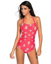 Vintage Inspired 1950s Style Red Anchor Teddy Swimsuit