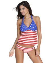 Купальник с майкой в цветах американского флага