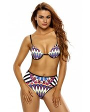 Multicolor Tribal Print 2pcs High Waist Swimsuit