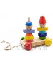 МДИ Пирамидка-каталка Мальчик и девочка, Мир деревянных игрушек (Д354)