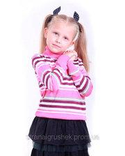 FLASH Гольф в полосочку для девочки, Flash, фуксия, сиреневый, белый (110 р) (16D238-1320_110)