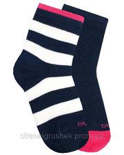 Duna Набор из 2-х пар носков в полосочку и с цветной пяткой, Duna, синий, 20-22 (31-34) (1068/20-22/синій)