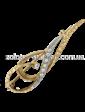 Золота лелека Золотоя брошь с фианитами 09104