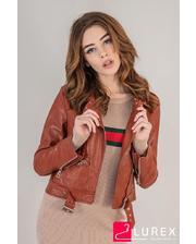 Женская куртка косуха из экокожи - коричневый цвет, M (есть размеры)