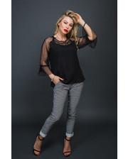 Шифоновая блуза с рукавами из фатина - черный цвет, L (есть размеры)