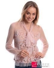Прозрачная блуза с кружевом - пудра цвет, S/M (есть размеры)